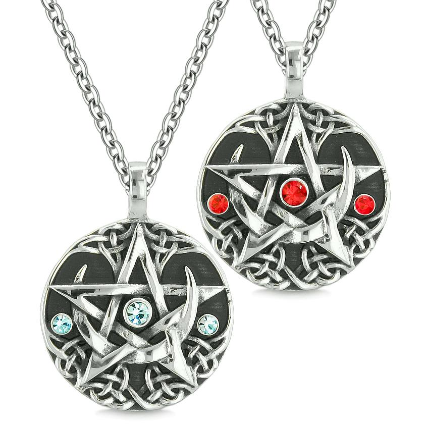 Pentacle Magic Super Star Celtic Amulets Love Couples or Best Friends Blue Red Crystals Necklaces