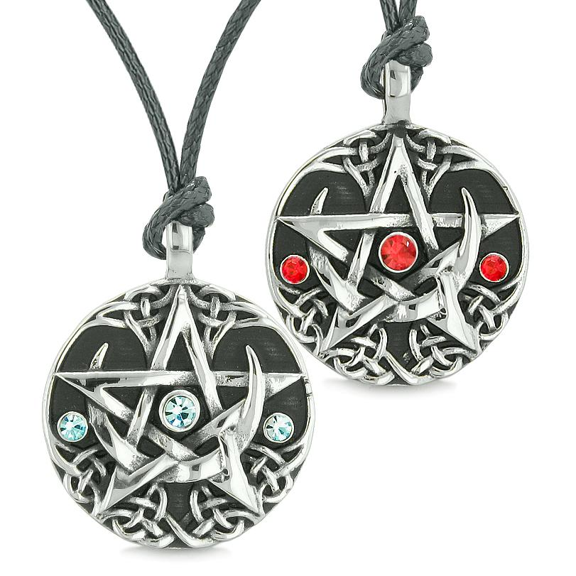 Pentacle Magic Super Star Celtic Amulets Love Couples Best Friends Blue Red Crystals Necklaces