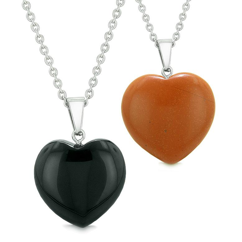 Amulets Lucky Puffy Hearts Love Couples Best Friends Set Black Agate Red Jasper Pendant Necklaces