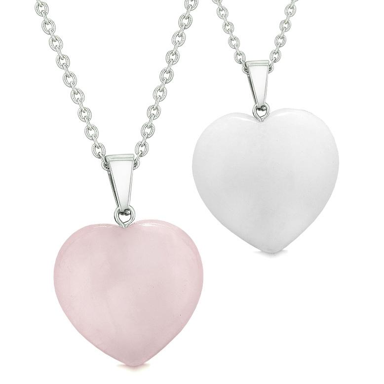 Amulets Lucky Puffy Hearts Love Couples or Best Friends Set White and Rose Quartz Pendant Necklaces