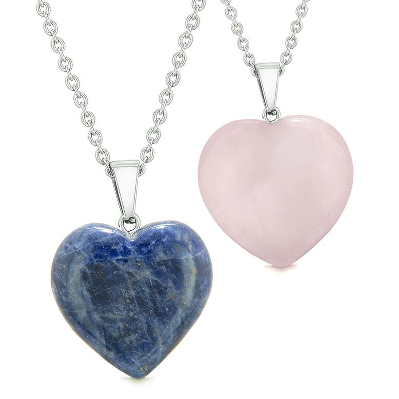 Amulets Lucky Puffy Hearts Love Couples or Best Friends Set Sodalite Rose Quartz Pendant Necklaces