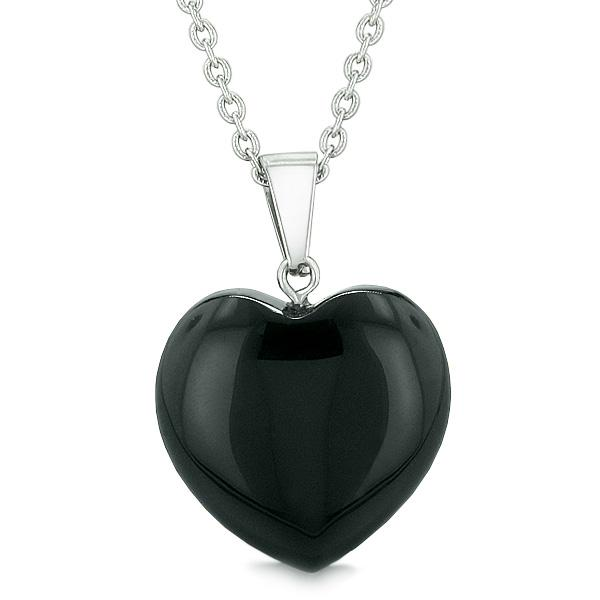 Lucky Puffy Heart Charm Crystal Black Agate Gemstone Spiritual Powers Amulet Pendant Necklace