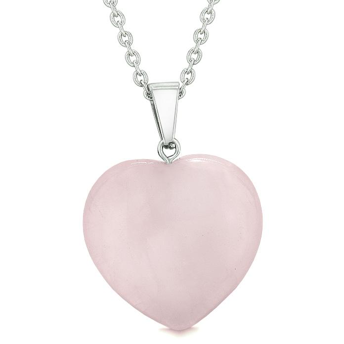 Lucky Puffy Heart Charm Crystal Rose Quartz Gemstone Love Powers Amulet Pendant 18 Inch Necklace
