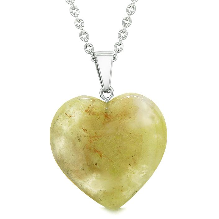 Lucky Puffy Heart Charm Crystal Olive Moss Agate Good Luck Powers Amulet Pendant 18 Inch Necklace