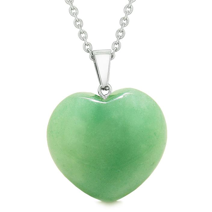 Lucky Puffy Heart Charm Crystal Green Quartz Good Luck Magic Powers Amulet Pendant 18 Inch Necklace