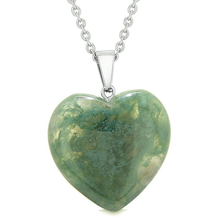 Lucky Puffy Heart Charm Crystal Green Moss Agate Good Luck Powers Amulet Pendant 18 Inch Necklace