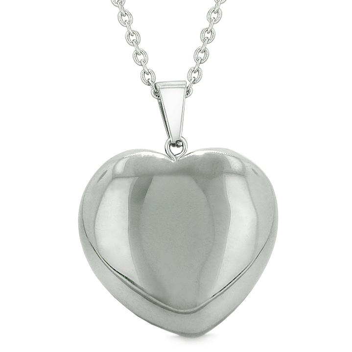 Lucky Puffy Heart Charm Crystal Hematite Good Luck Protection Powers Amulet Pendant Necklace