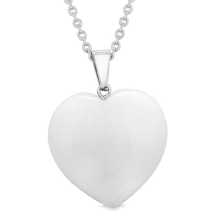 Lucky Puffy Heart Charm Crystal White Snowflake Quartz Good Luck Powers Amulet Pendant Necklace