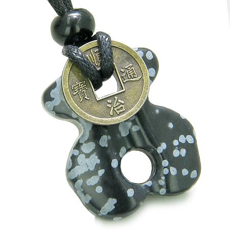 Infinity Magic Powers Celtic Knot Lucky Coin Evil Eye Protection Amulet Snowflake Obsidian Necklace