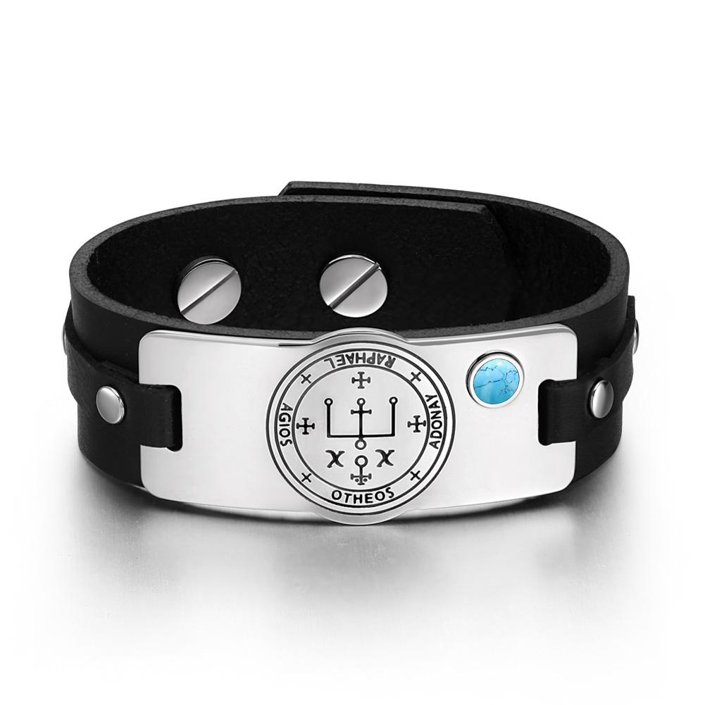 Archangel Raphael Sigil Magic Powers Amulet Tag Simulated Turquoise Black Leather Bracelet