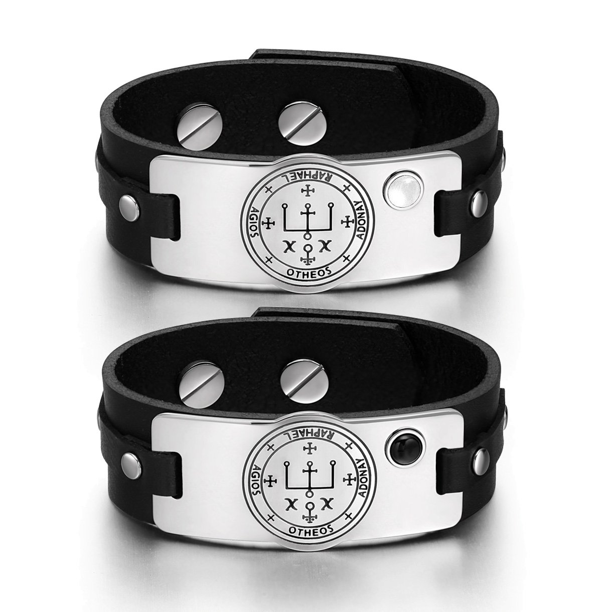 Archangel Raphael Sigil Love Couples White Simulated Cat Eye Simulated Onyx Black Leather Bracelets