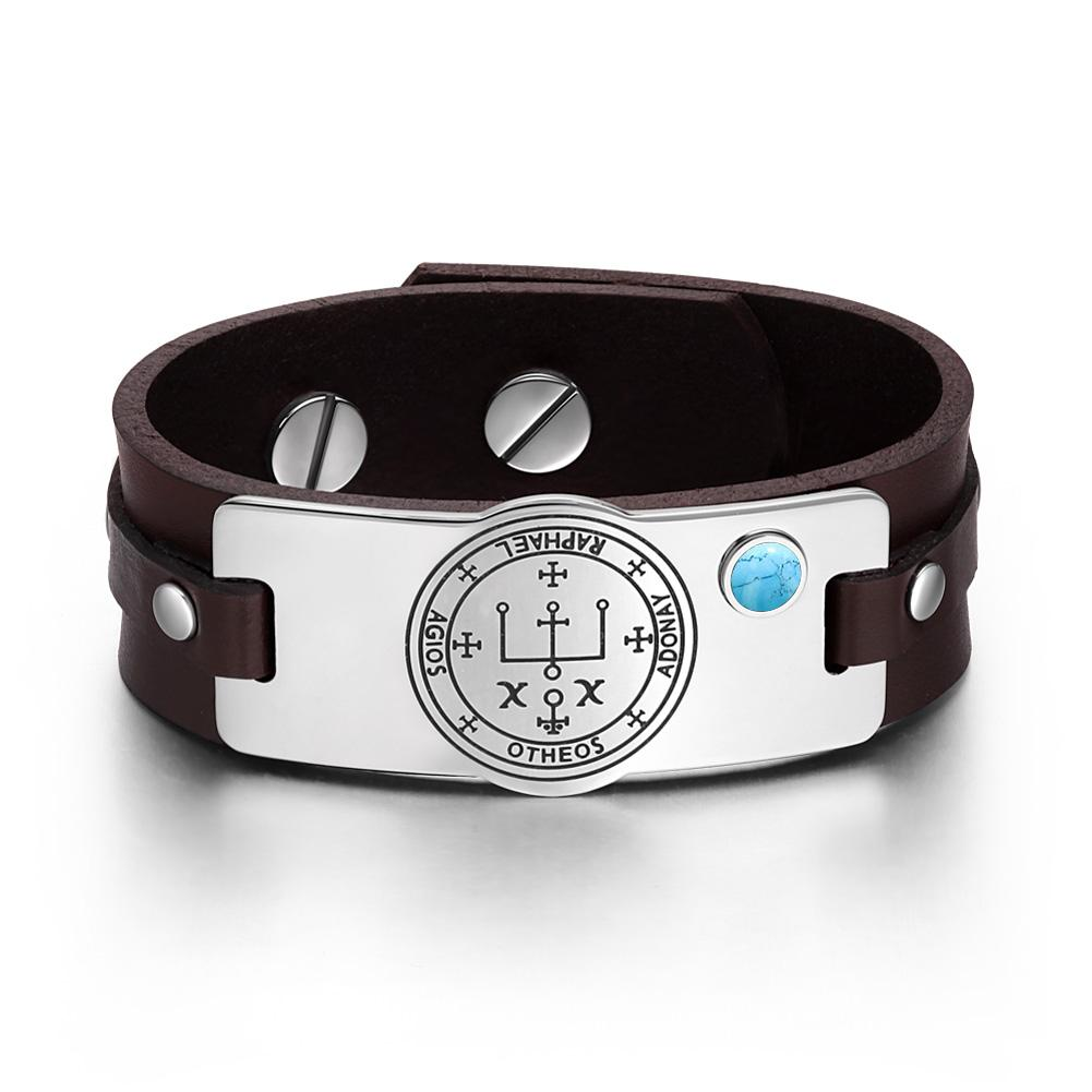Archangel Raphael Sigil Magic Powers Amulet Tag Simulated Turquoise Brown Leather Bracelet