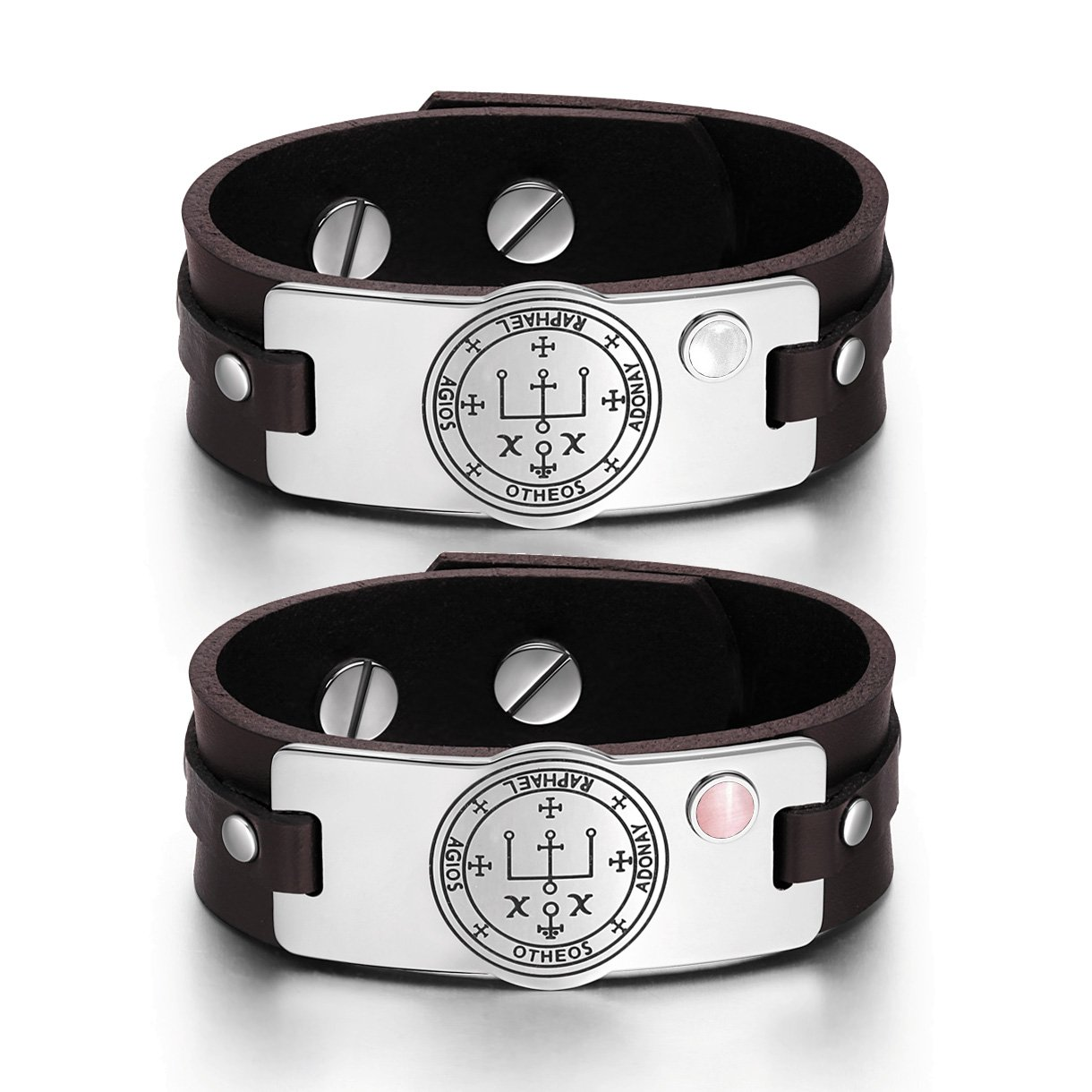 Archangel Raphael Sigil Love Couples Pink White Simulated Cats Eye Amulet Brown Leather Bracelets