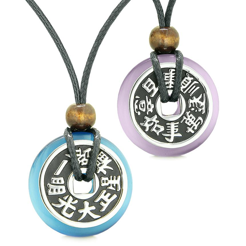 Amulets Large Reversible Fortune Coins Love Couples Yin Yang Sky Blue Purple Cats Eye Necklaces