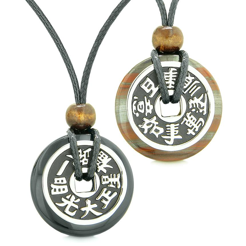 Amulets Large Reversible Fortune Coins Love Couples Yin Yang Black Agate Dragon Eye Iron Necklaces