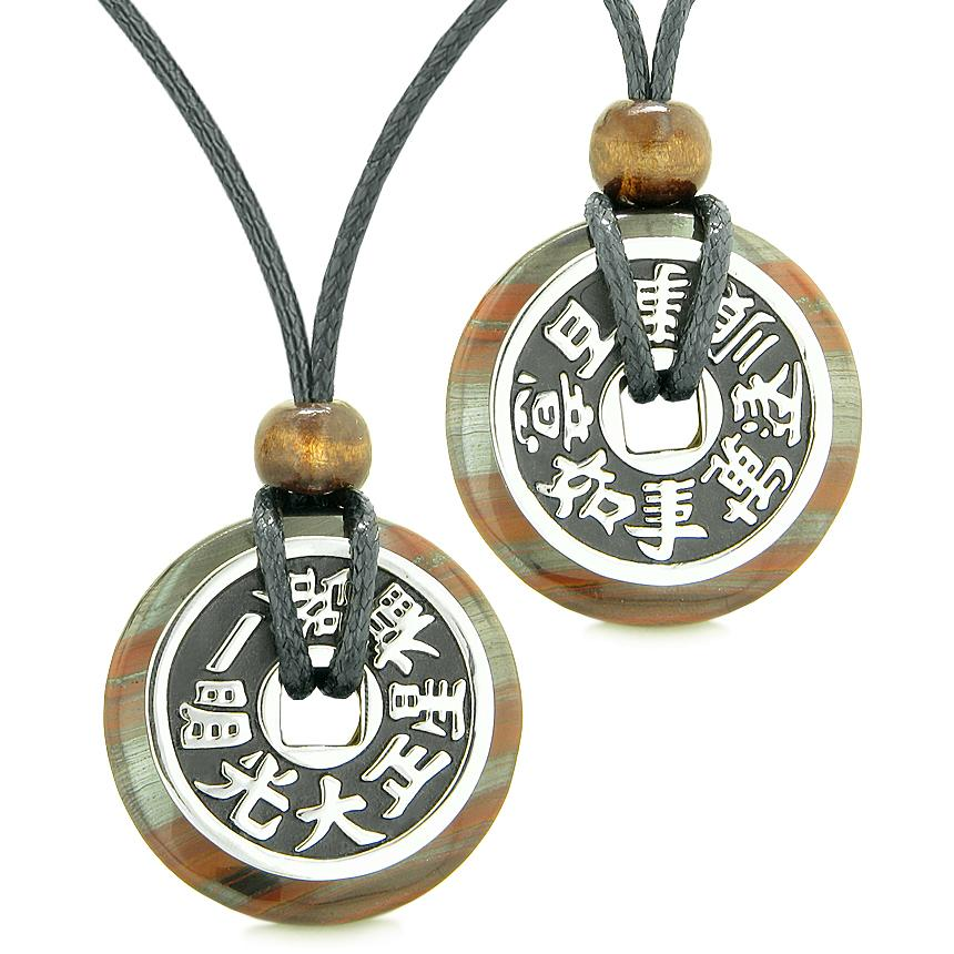 Amulets Large Reversible Fortune Coins Love Couples Yin Yang Dragon Eye Hematite Iron Necklaces