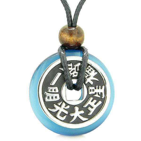 Large Double Lucky Reversible Fortune Coin Donut Sky Blue Cats Eye Feng Shui Pendant Necklace