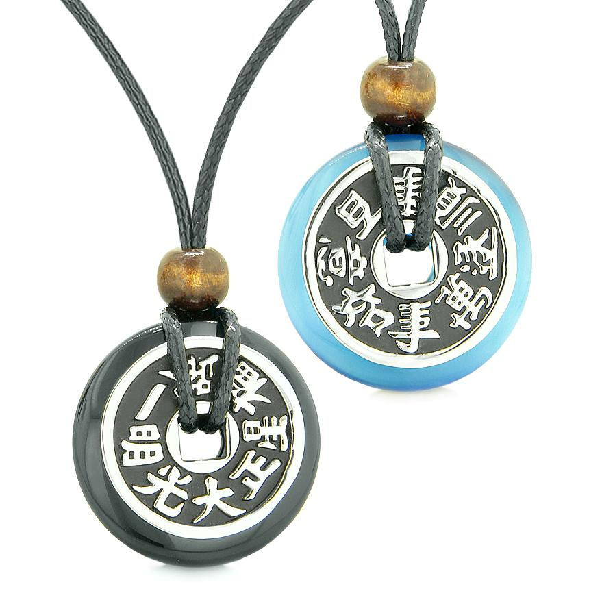 Amulets Large Reversible Fortune Coins Love Couples Yin Yang Agate Sky Blue Cats Eye Necklaces
