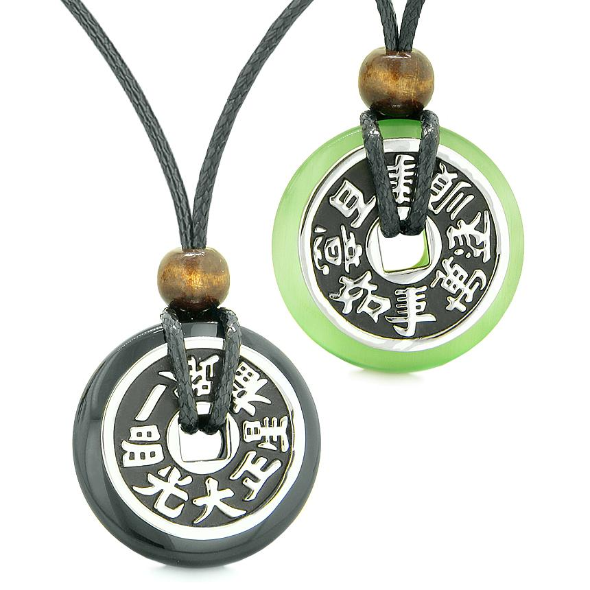 Amulets Large Reversible Fortune Coins Love Couples Yin Yang Agate Green Cats Eye Necklaces