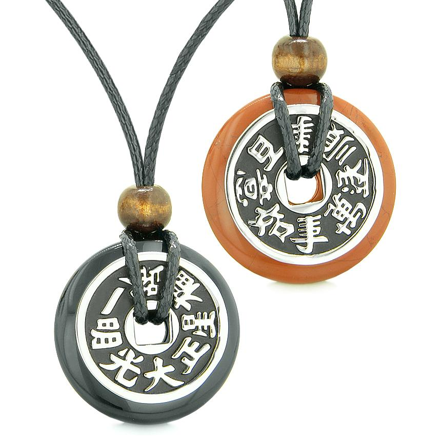 Amulets Large Reversible Fortune Coins Love Couples Yin Yang Black Agate Red Jasper Necklaces