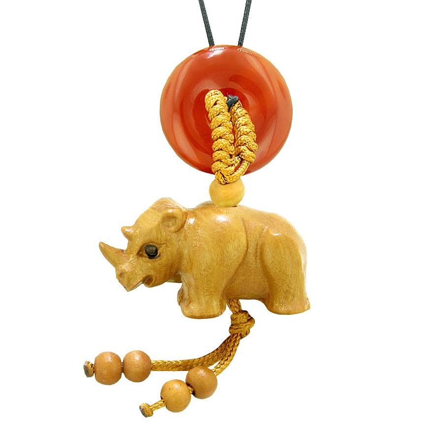 Baby Rhino Cute Good Luck Car Charm or Home Decor Carnelian Lucky Coin Donut Protection Magic Amulet