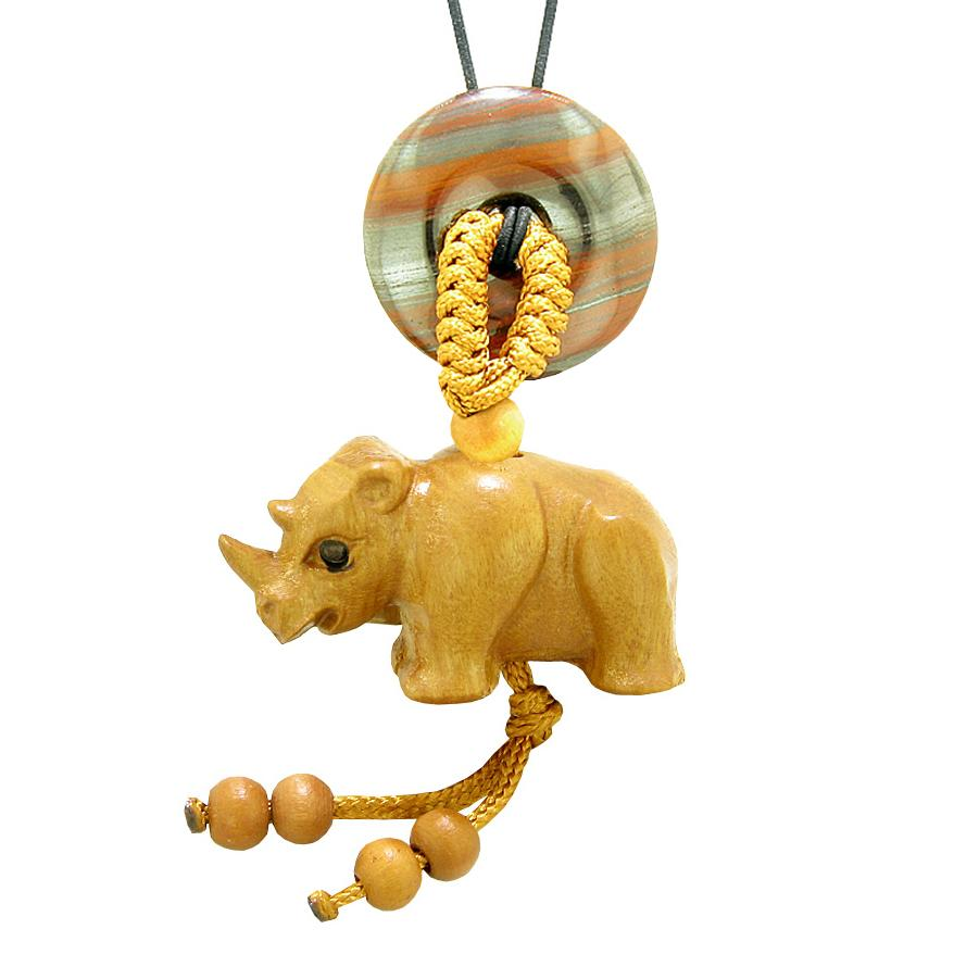 Baby Rhino Cute Good Luck Car Charm or Home Decor Dragon Eye Iron Lucky Coin Donut Protection Amulet