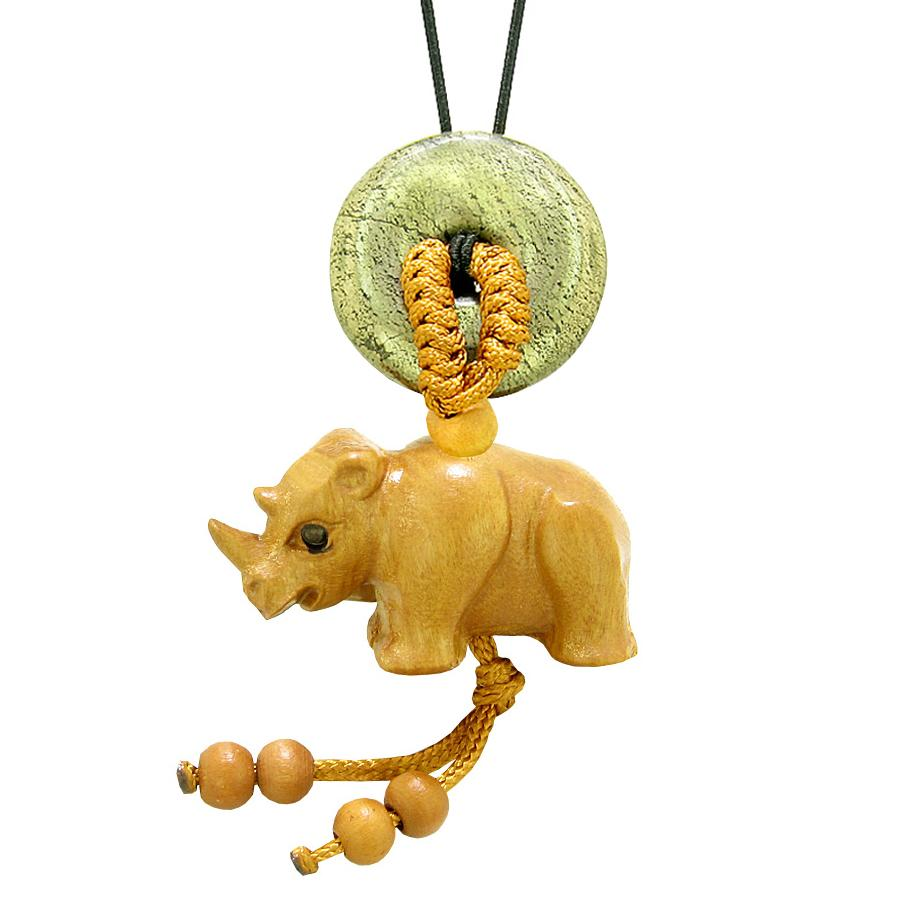 Baby Rhino Cute Good Luck Car Charm or Home Decor Golden Pyrite Iron Lucky Coin Donut Protection Amulet