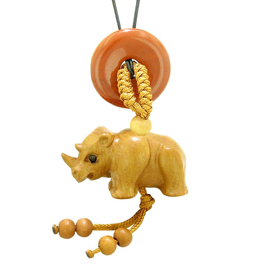 Baby Rhino Cute Good Luck Car Charm or Home Decor Red Jasper Lucky Coin Donut Protection Magic Amulet