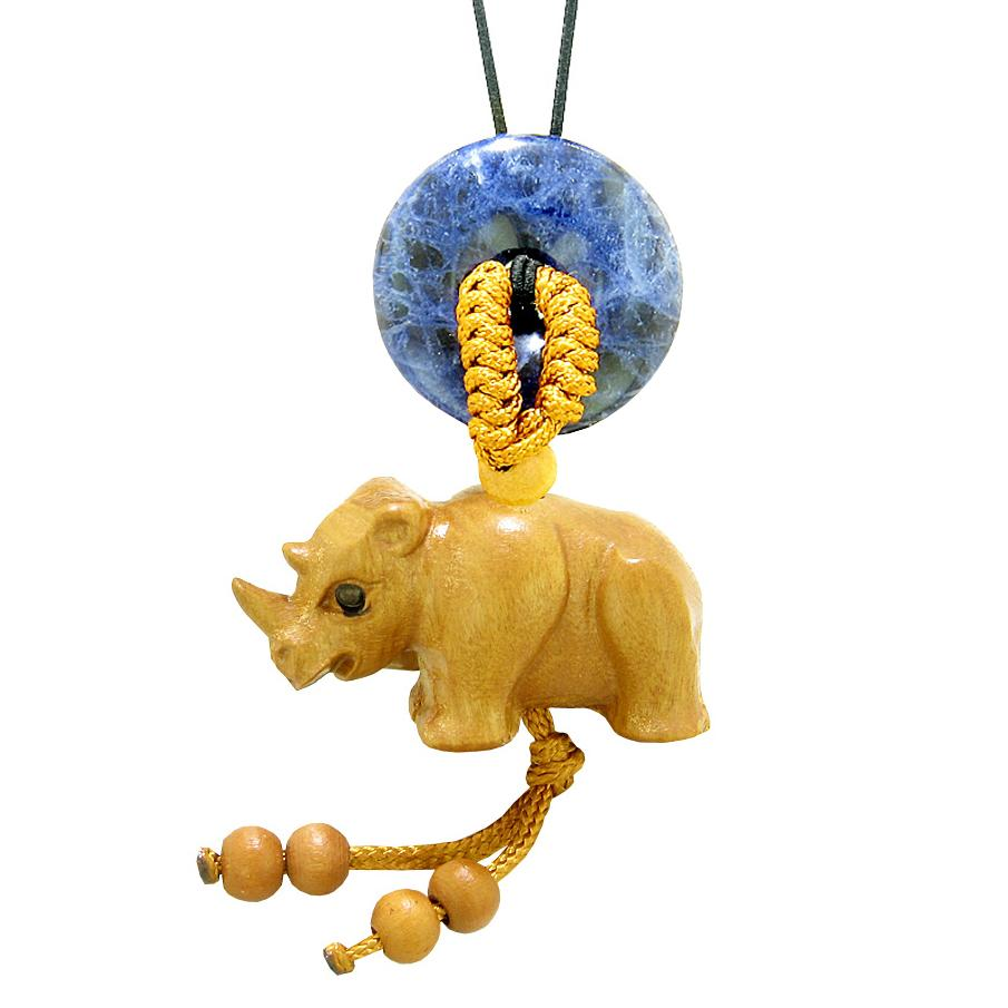 Baby Rhino Cute Good Luck Car Charm or Home Decor Sodalite Lucky Coin Donut Protection Magic Amulet
