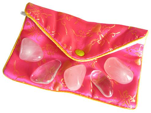 Love Talisman Pouch In Rose Quartz And Crystals
