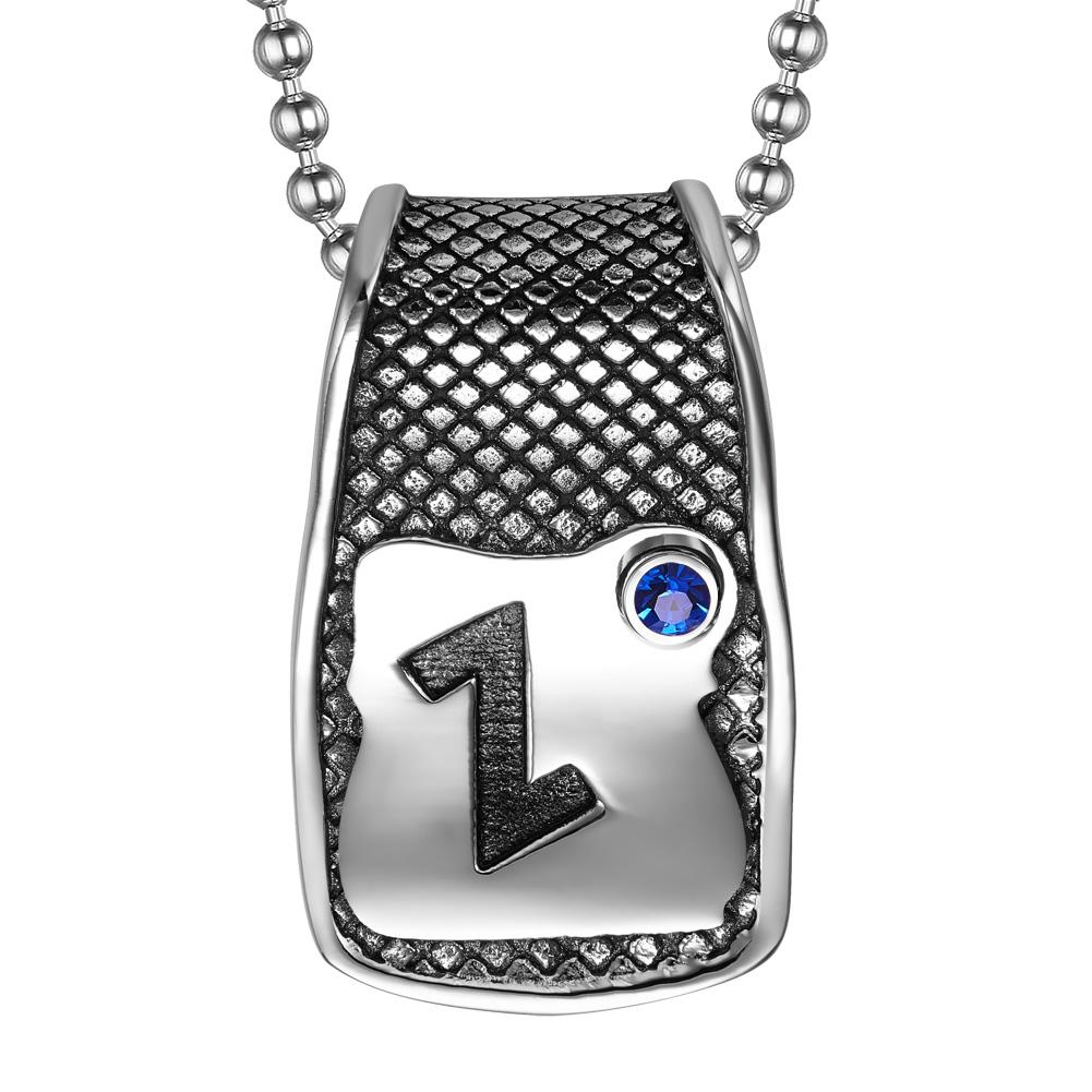Unique Rune Eihwaz Defense Powers Ancient Amulet Royal Blue Crystal Runic Tag Pendant 22 inch Necklace