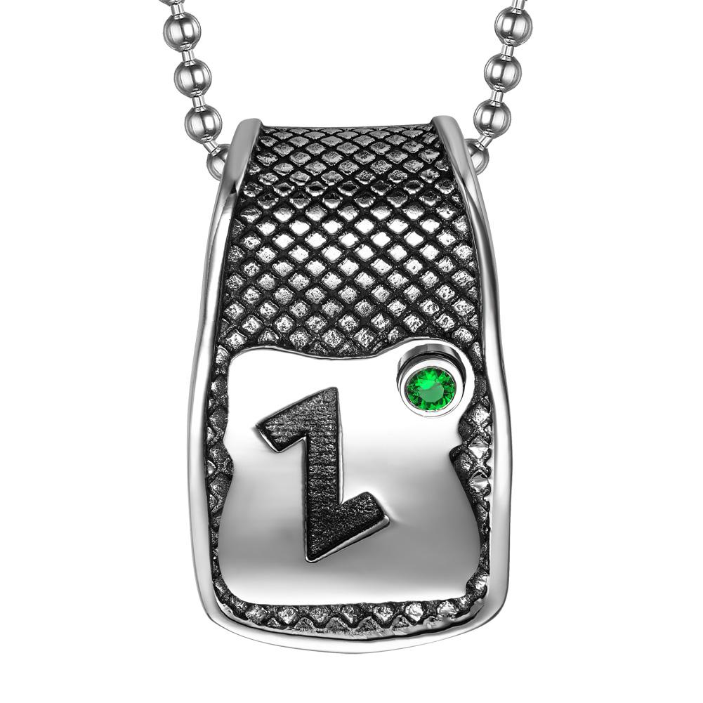Unique Rune Eihwaz Defense Powers Ancient Amulet Royal Green Crystal Runic Tag Pendant 18 inch Necklace