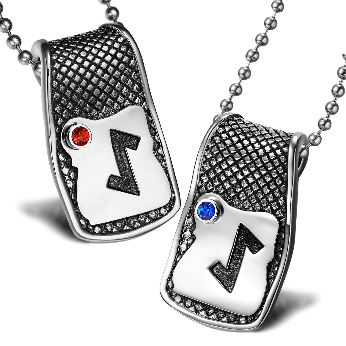 Unique Rune Eihwaz Defense Powers Love Couples or Best Friends Amulets Set Red Blue Crystals Necklaces