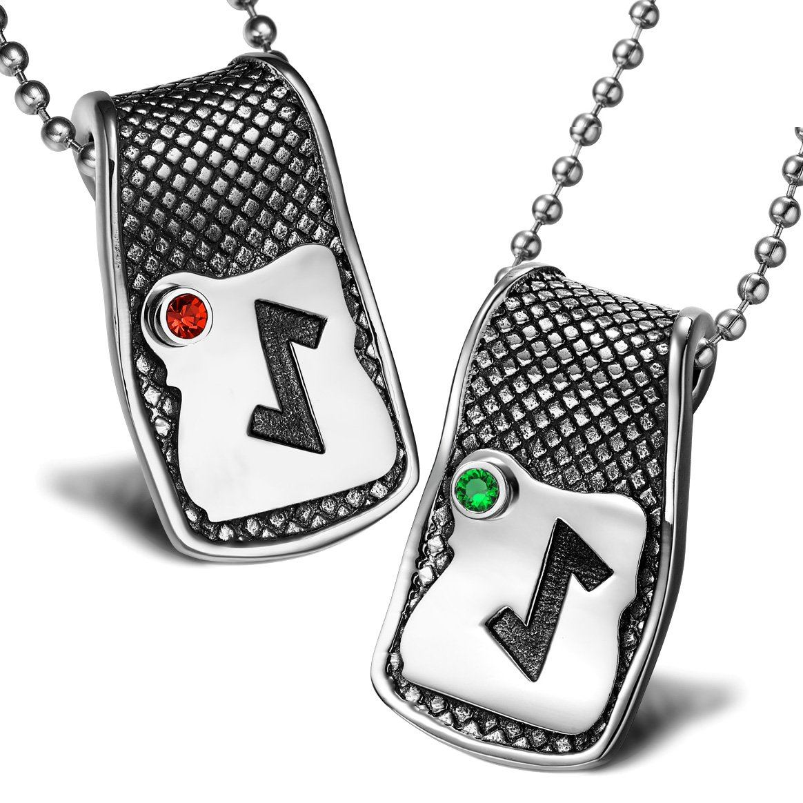 Unique Rune Eihwaz Defense Powers Love Couples or Best Friends Amulets Set Red Green Crystals Necklaces
