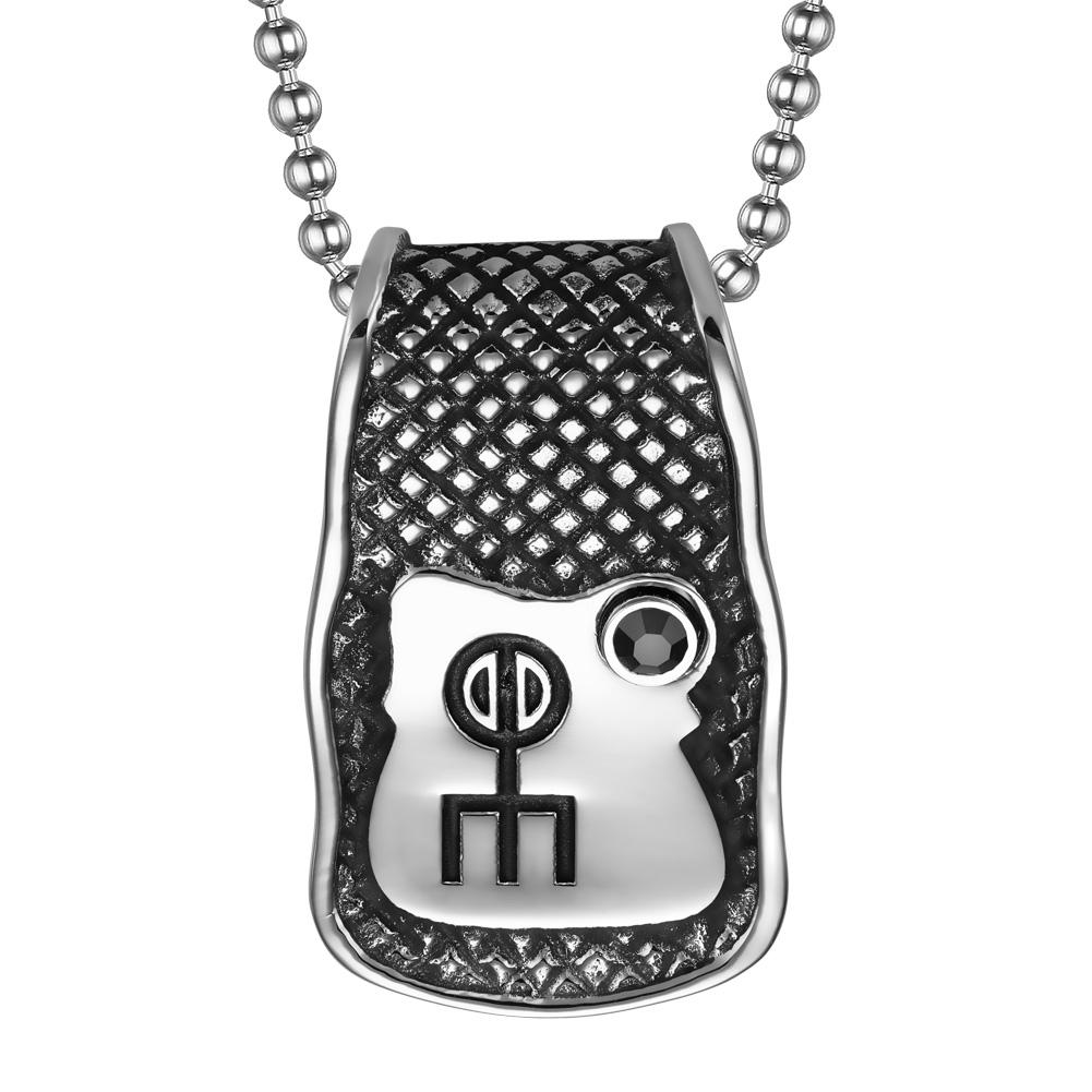 Unique Rune Norse Love Powers Ancient Amulet Royal Black Crystal Magic Runic Tag Pendant 18 inch Necklace