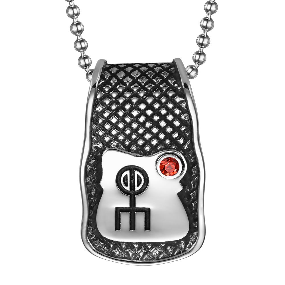 Unique Rune Norse Love Powers Ancient Amulet Royal Red Crystal Magic Runic Tag Pendant 22 inch Necklace