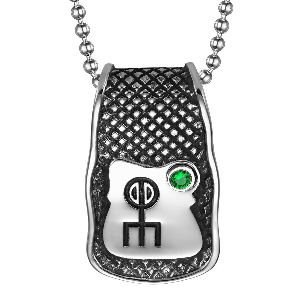 Unique Rune Norse Love Powers Ancient Amulet Royal Green Crystal Magic Runic Tag Pendant 18 inch Necklace