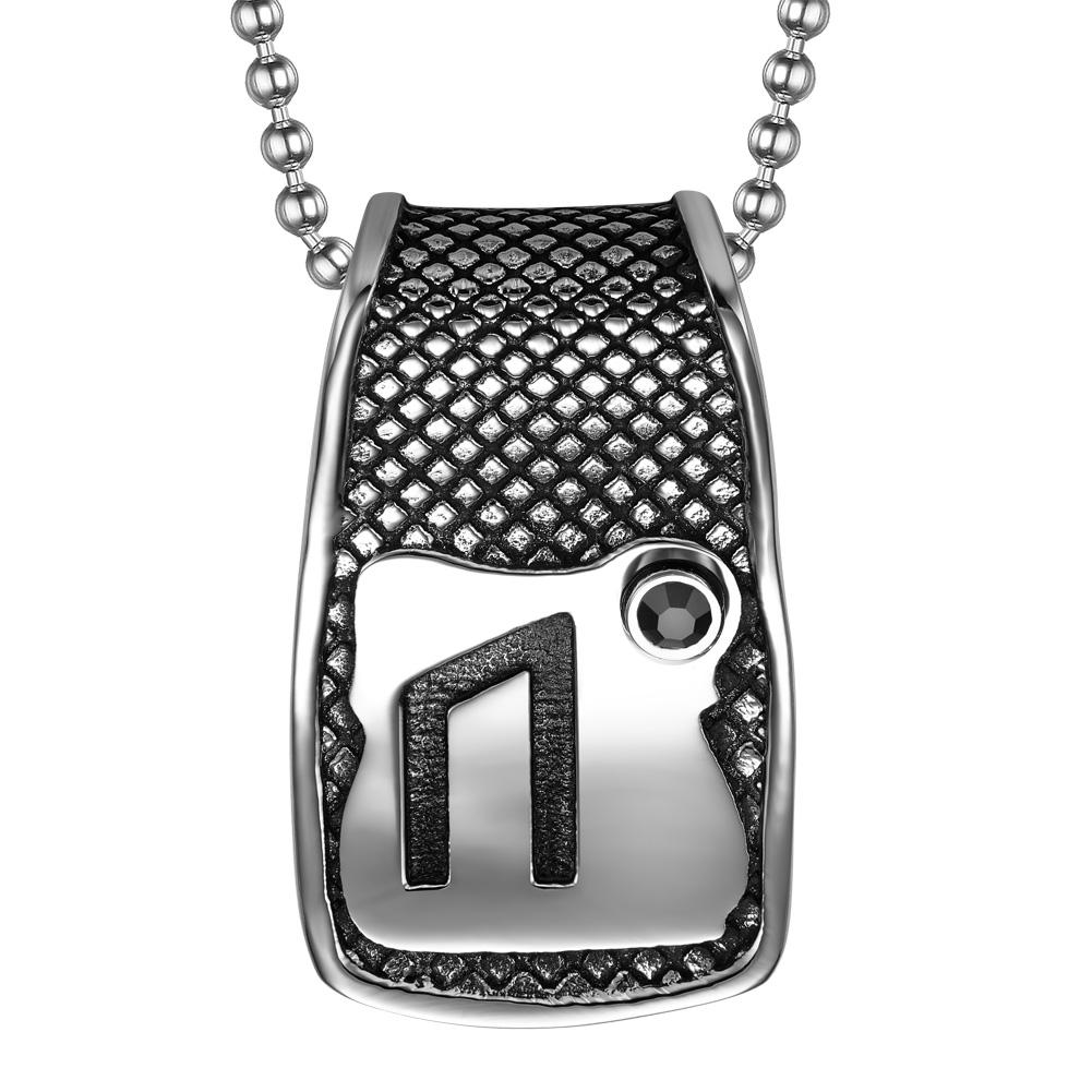 Unique Rune Uruz Strength Powers Ancient Amulet Royal Black Crystal Runic Tag Pendant 22 inch Necklace