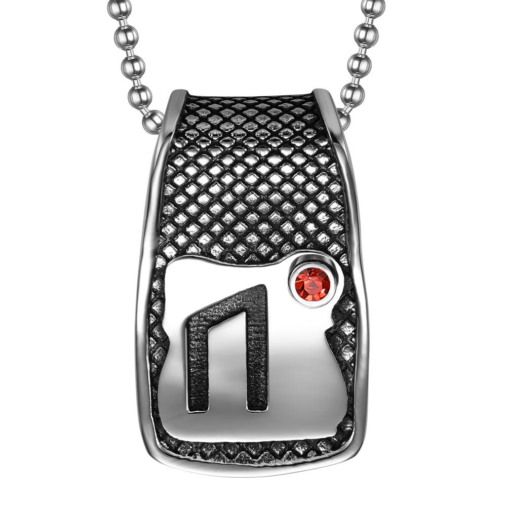 Unique Rune Uruz Strength Powers Ancient Amulet Royal Red Crystal Runic Tag Pendant 22 inch Necklace