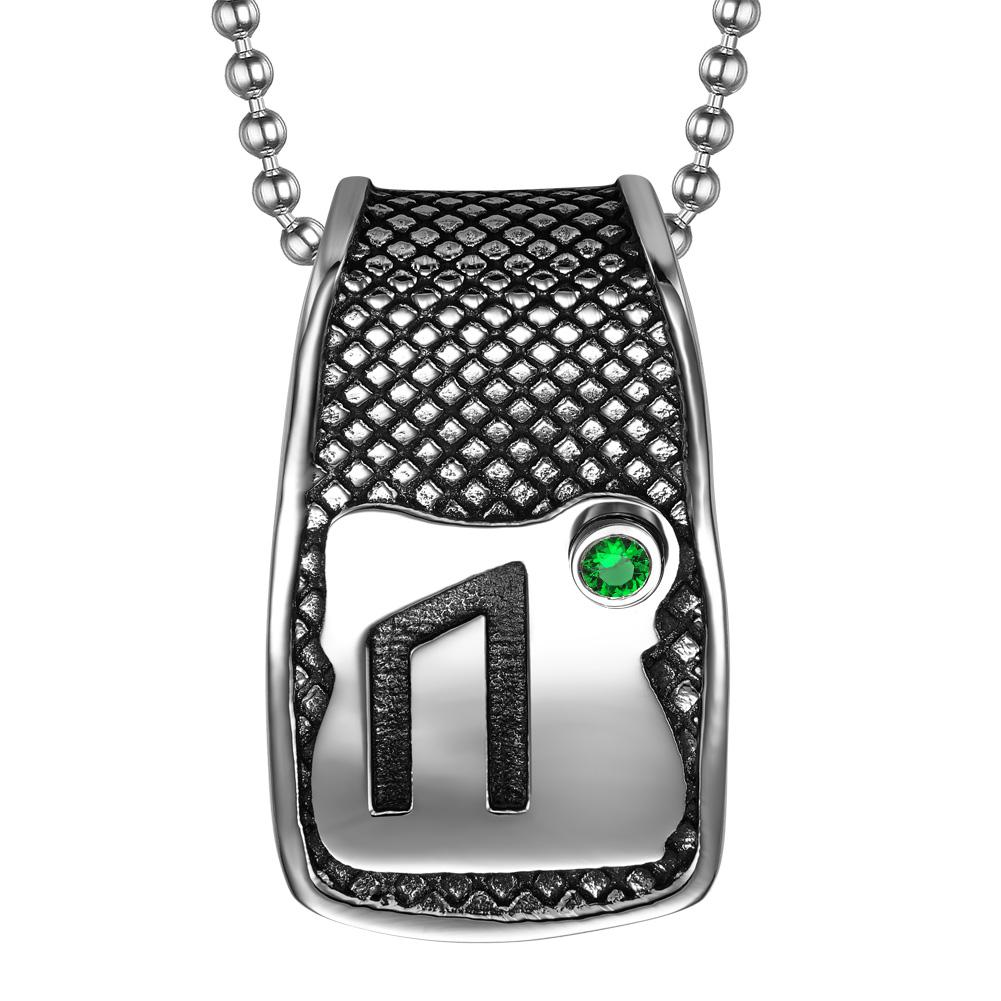 Unique Rune Uruz Strength Powers Ancient Amulet Royal Green Crystal Runic Tag Pendant 18 inch Necklace