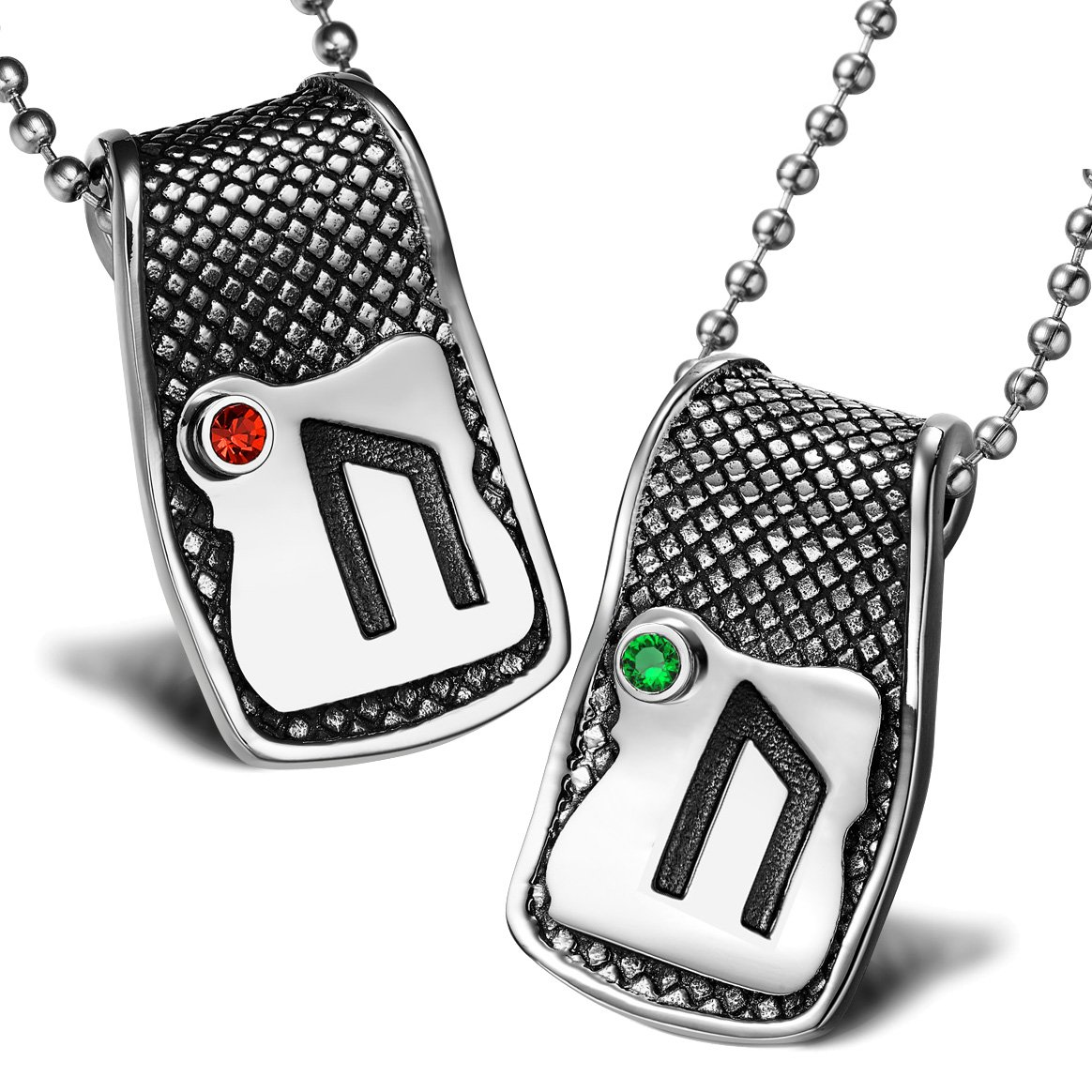 Unique Rune Uruz Strength Powers Love Couples or Best Friends Amulets Set Green Red Crystals Necklaces