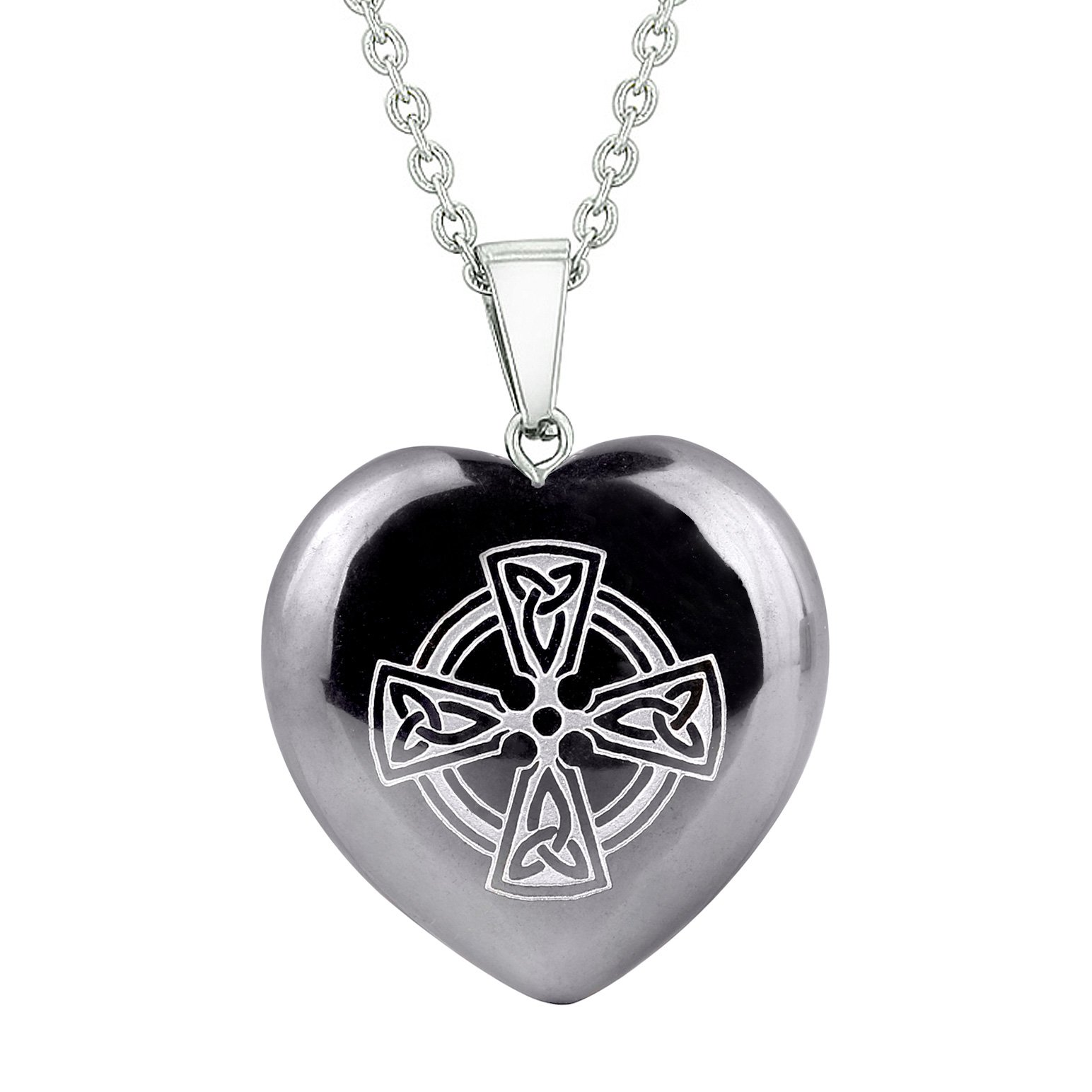 Amulet Viking Celtic Cross Circle Powers Protection Energy Hematite Puffy Heart Pendant Necklace
