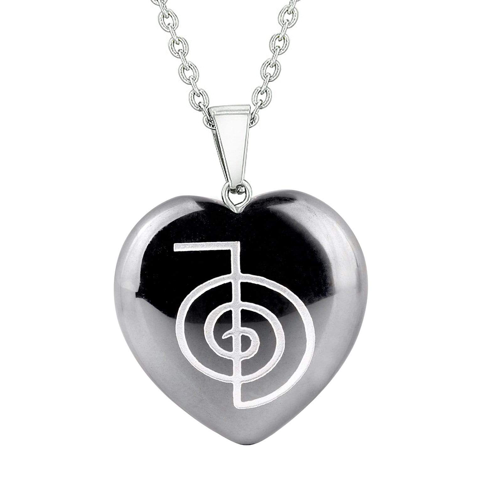 Amulet Choku Rei Reiki Magical Powers Protection Energy Hematite Puffy Heart Pendant Necklace
