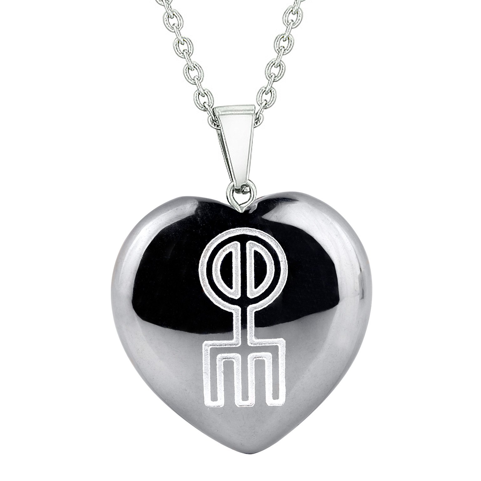 Amulet Norse Rune Love Spell Magic Powers Protection Energy Hematite Puffy Heart Pendant Necklace