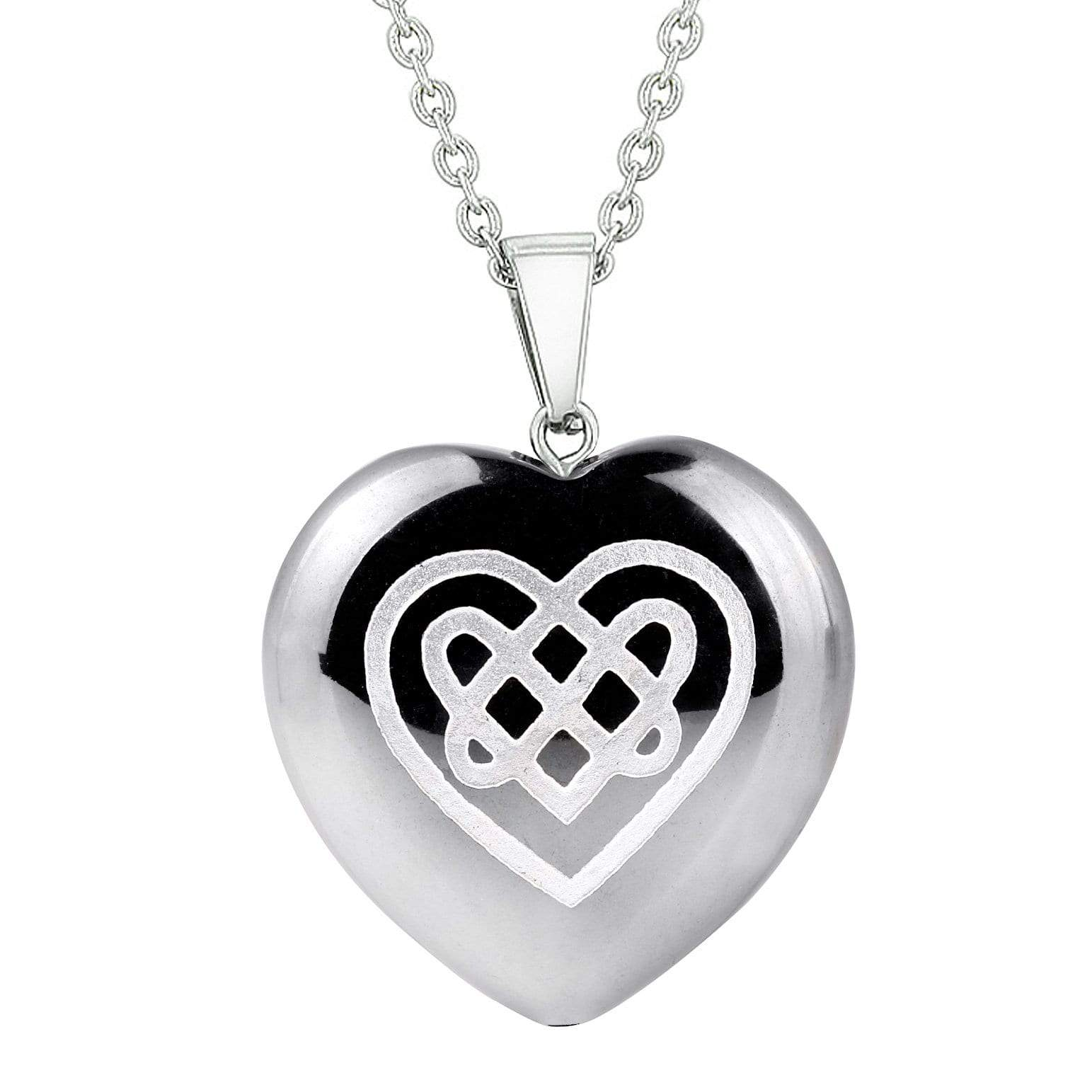 Amulet Celtic Shiled Knot Heart Powers Protection Energy Hematite Puffy Heart Pendant Necklace