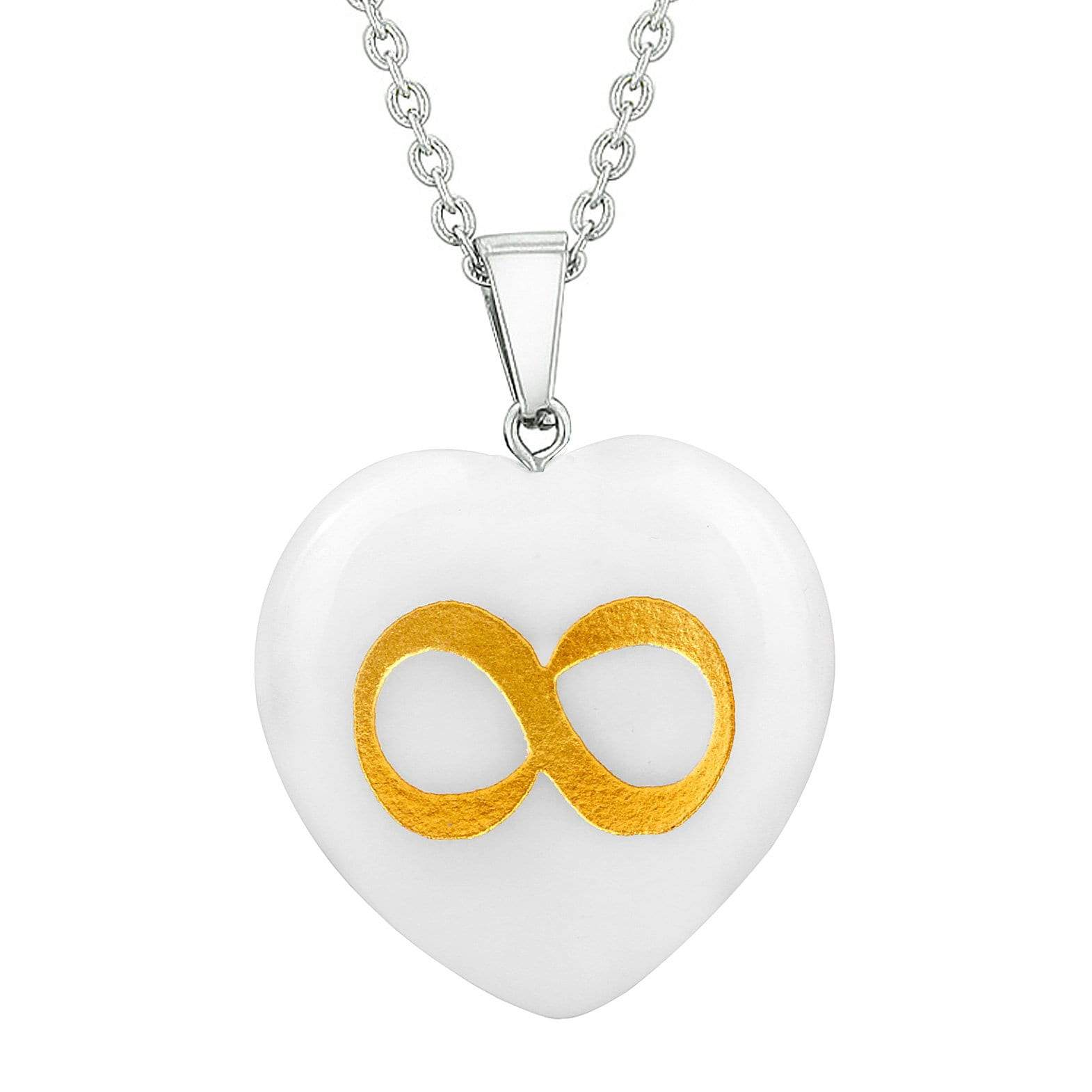 Amulet Infinity Magical Unity Powers Protect Energy Snowflake Quartz Puffy Heart Pendant Necklace