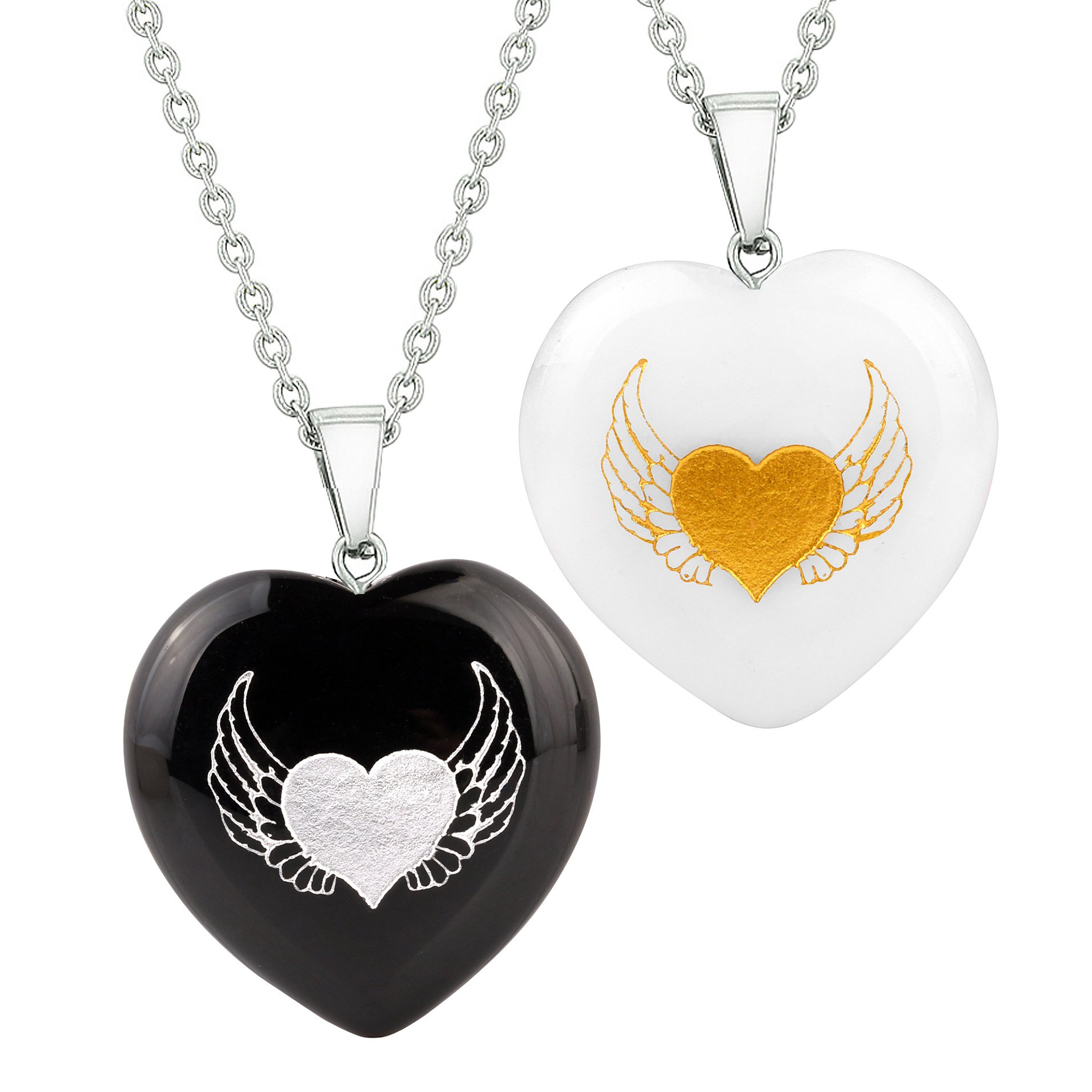 Heart Amulets Angel Wings Heart Love Love or Couples Best Friends Agate White Quartz Necklaces
