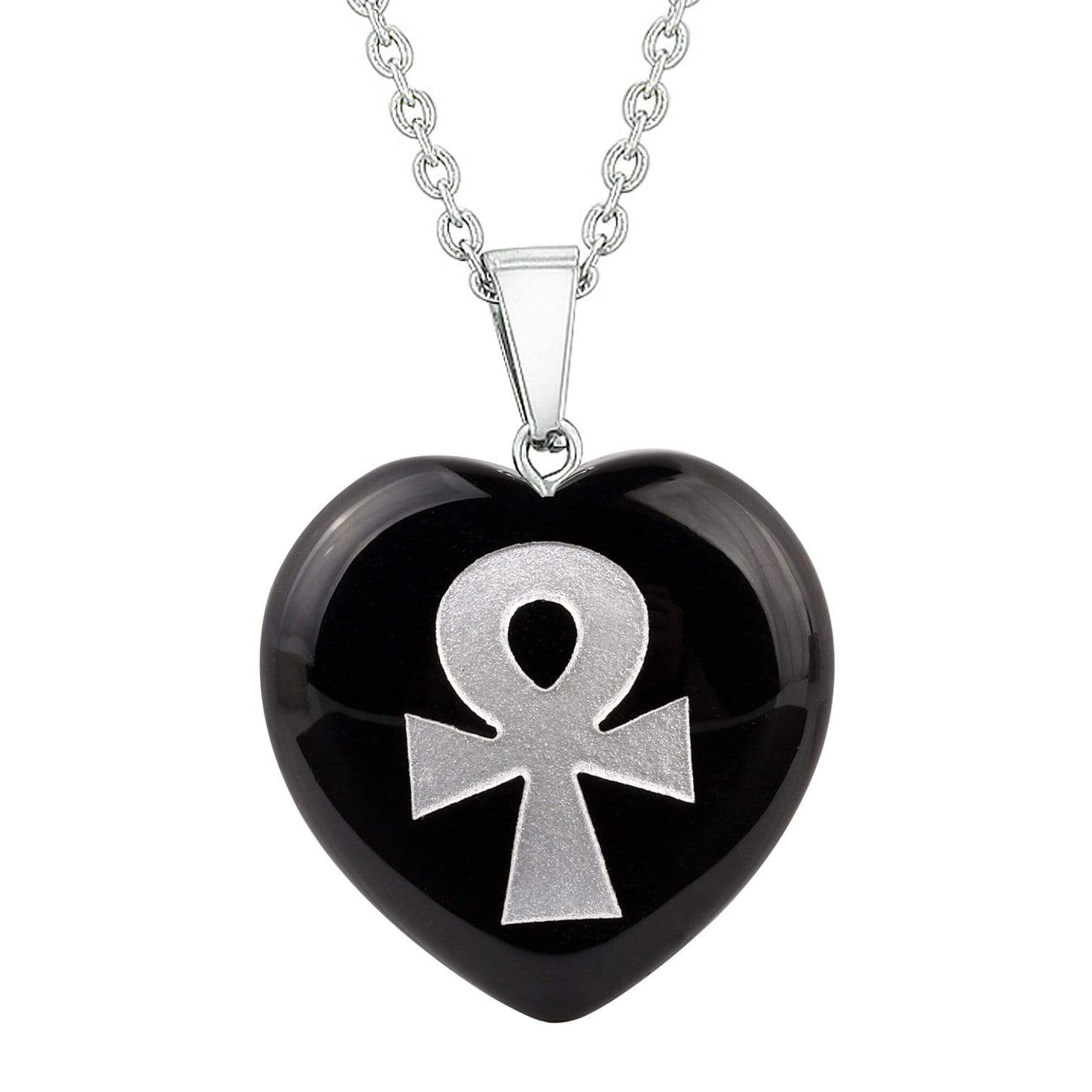 Amulet Ankh Egyptian Powers of Life Protection Energy Black Agate Puffy Heart Pendant Necklace