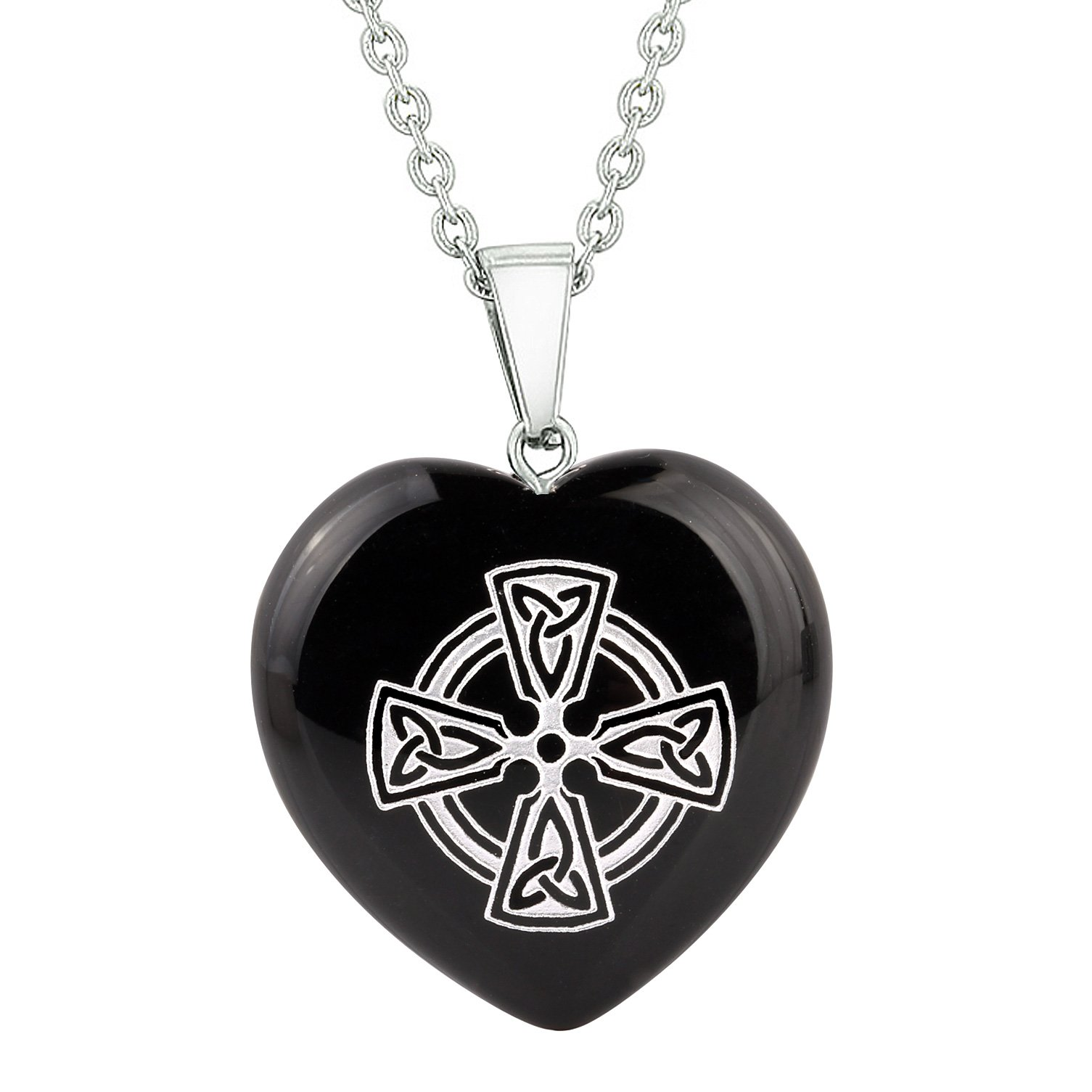 Amulet Viking Celtic Cross Circle Powers Protect Energy Black Agate Puffy Heart Pendant Necklace