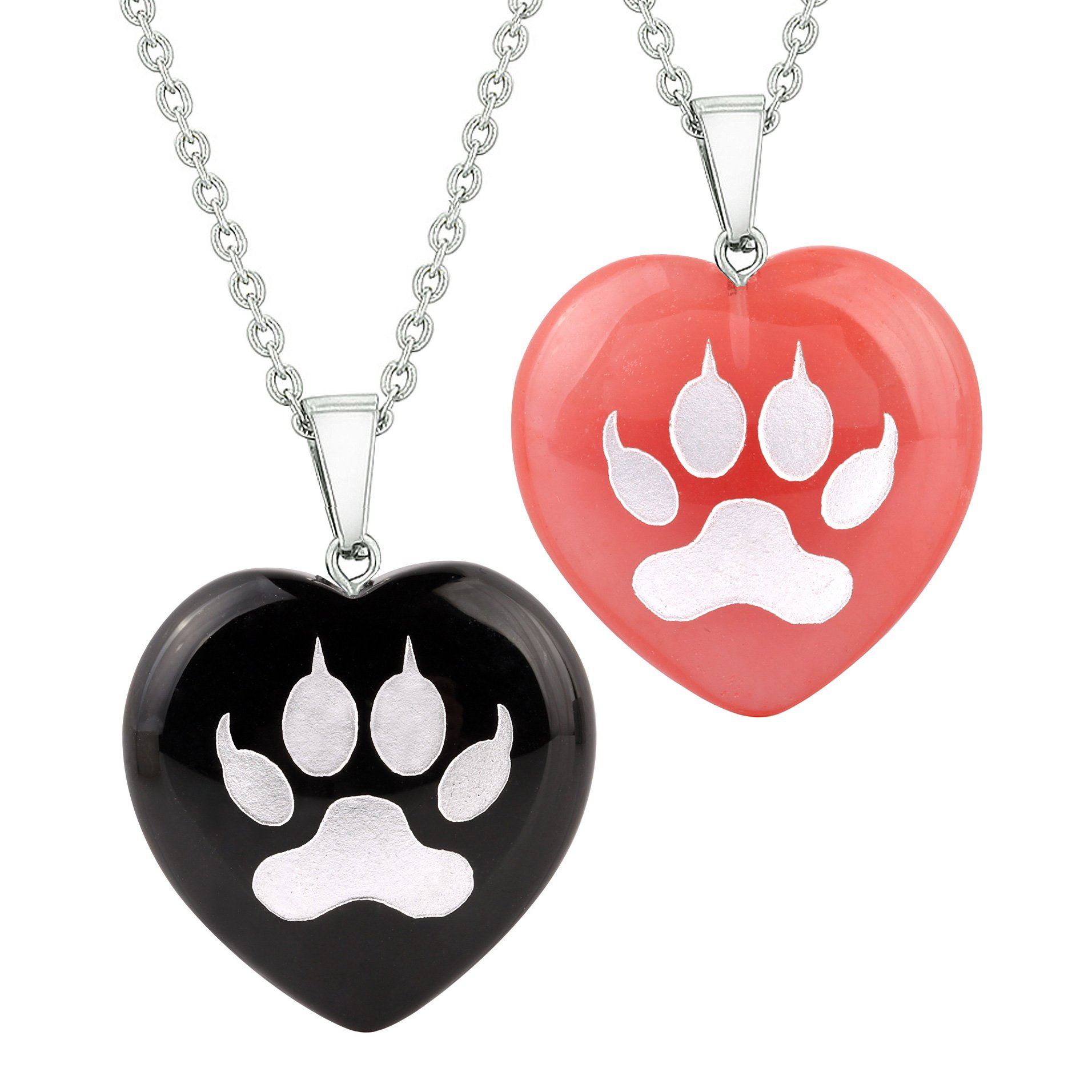 Heart Amulets Wolf Paw Courage Magical Love Couples Best Friends Agate Simulated Quartz Necklaces